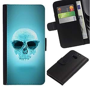 All Phone Most Case / Oferta Especial Cáscara Funda de cuero Monedero Cubierta de proteccion Caso / Wallet Case for HTC One M8 // Cool Blue Sunglasses Skull