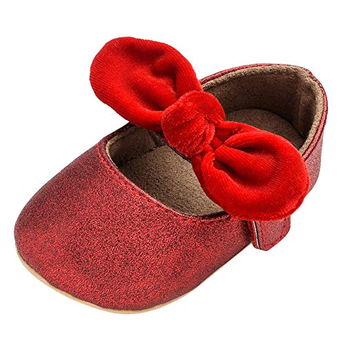 - SMALLE ◕‿◕ Newborn Baby Girl Solid Bow Soft Anti-Slip Hook&Loop First Walker Princess Shoes Red