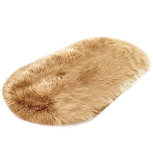 Monoche Soft Artificial Sheepskin Wool Warm Hairy Carpet Seat Mats Rug Perfect Fo Seat Cushion Float Window Mat Bed Mat Carpet Door Mat Yoga 40 X 60 cm(15.74 X 23.62 Inch) (Khaki)