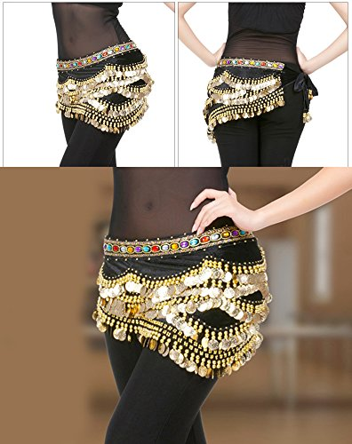 Womens Belly Dance Hip Scarf with 328 Gold Tone Coins Hip Belt Skirt for Belly Dancing Costume