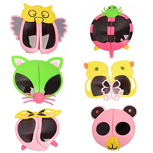 6 pack Children Fashion Cartoon Animal Folding Sunglasses Butterfly Kids Goggles