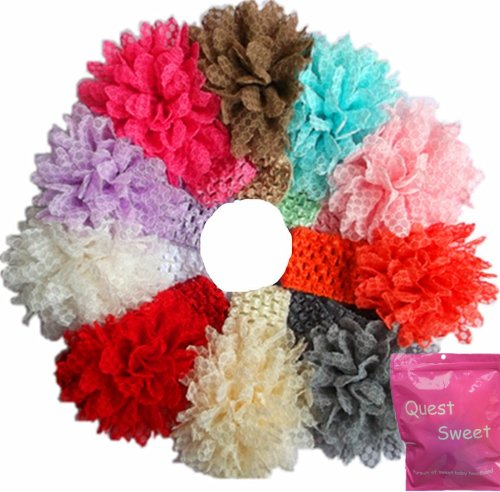 10 Pieces Babys Headbands Girl's Lace Flower Headband Hair Accessories (10 Pack)
