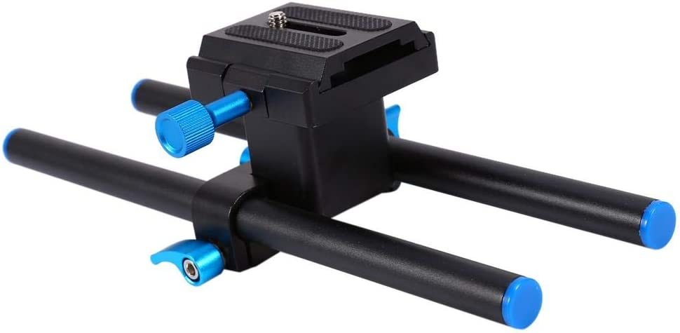 Qiilu 15mm Rail Rod Support System Baseplate Mount with 1//4Screw Plate NEW V5B9 for DSLR Follo
