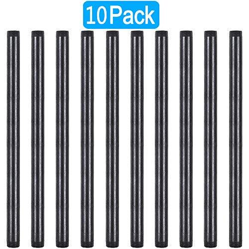 GOOVI 1/2 Inches x 16 Inches Black Malleable Steel Pipe Fitting, 1/2 Inches Black Pipe Threaded Pipe Nipples, Build Vintage DIY Shelving Steampunk Furnitur, 10 Pack.