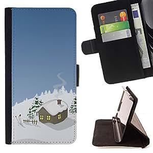 BullDog Case - FOR/Samsung Galaxy S3 III I9300 / - / Winter Christmas House /- Monedero de cuero de la PU Llevar cubierta de la caja con el ID Credit Card Slots Flip funda de cuer