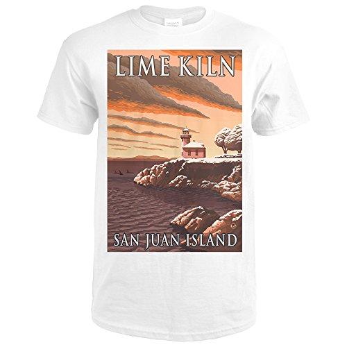 Lime Kiln Lighthouse - San Juan Island, WA Snow Version (Premium White T-Shirt (Lime Kiln Lighthouse)