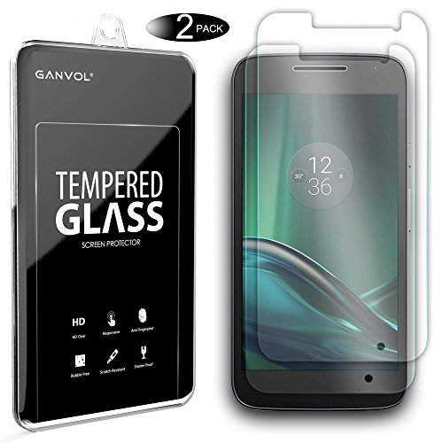 Ganvol 2 Pack Premium Tempered Glass Screen Protector for Lenovo Moto G4 Play
