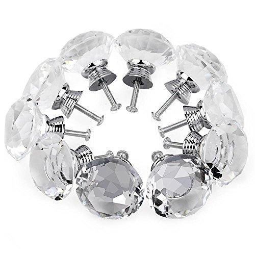 5 Pcs 40mm Crystal Glass Cabinet Knob Drawer Pull Handle - 6