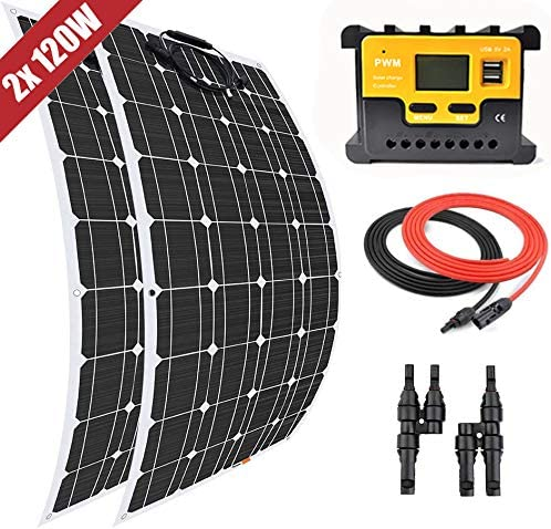 Giosolar Solar Panel 200 W Flexible Solar Panel Kit 2 x 100 W Flexible Monokristallines Panel + 20 A LED Controller + 5 m Solar-Kabel + Y AST Connector für Boot Caravan netzferne