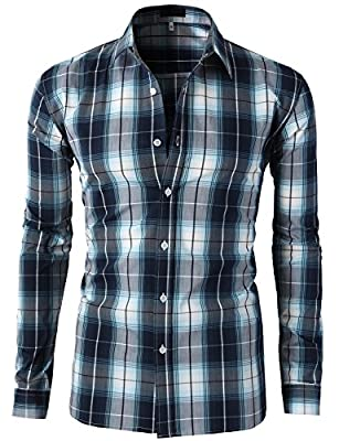 H2H Mens Casual Slim Fit Button Down Plaid Check Patterned Shirts Various Styles