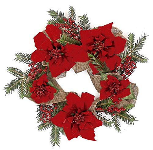 Velvet Poinsettia, Red Berry, and Burlap CHOICE of 24 in Wreath or 6 ft Garland (24 in) ()
