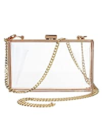 Women Cute Transparent Clear See Through Box Clutch Acrylic Evening Handbag Cross-Body Purse Bag
