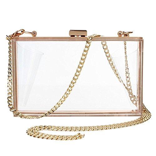 Women Cute Transparent Clear See Through Box Clutch Acrylic Evening Handbag Cross-Body Purse Bag ()