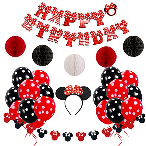Minnie Mouse Birthday Decorations Red and Black for Girls with Happy Birthday Banner, Garland, Headband, and Polka Dot -