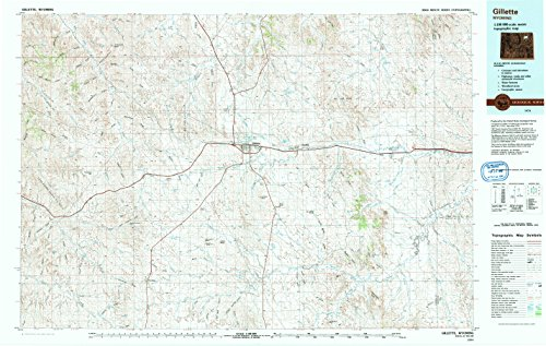 YellowMaps Gillette WY topo map, 1:100000 Scale, 30 X 60 Minute, Historical, 1974, Updated 1993, 24.1 x 38 in - Paper