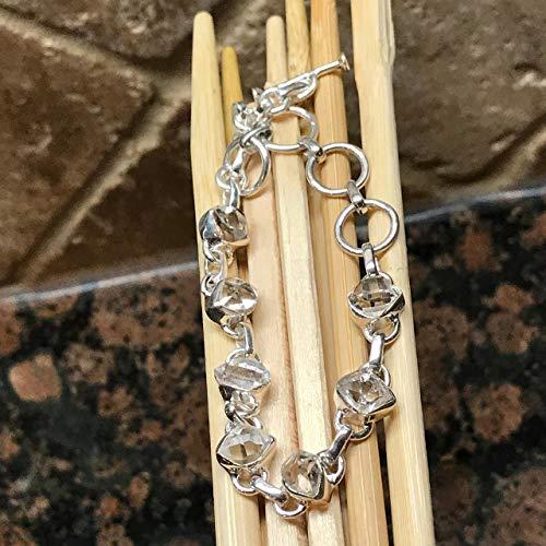 - Natural Herkimer Diamond 925 Solid Sterling Silver Cluster Healing Stone Bracelet 8