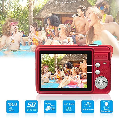 HD Mini Digital Cameras,21MP Point and Shoot Digital Video Cameras-Travel,Camping,Gifts (RED)