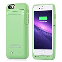 iPhone 6 6S Charger Case MUZE® 4.7 Inch Slim Portable Charger Cases External Battery Case Back Up Battery 3500mah Rechargeable Battery Case with Pop-out Video Kick stand Retail Packing (Green/for iphone 6 6S/1pcs)