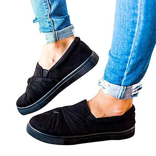 Huiyuzhi Womens Slip On Top Ruched Knot Flatform Fashion Sneakers A-black