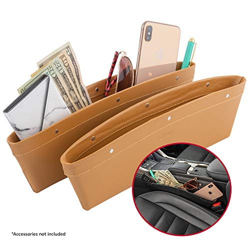 Lusso Gear 2 in 1 Car Seat Gap Organizer   Universal Fit   Storage Pockets Adjust   2 Set Car Seat Crevice Storage Box   Helps Reduce Distracted Driving & Holds Phone Money Cards Keys Remote