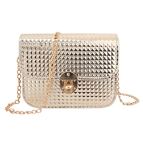 Candice Women's New Design Crossbody Mini Chain Shoulder Bag Handbag Shopping Bag Purse Coat of Paint for Girls(Gold)