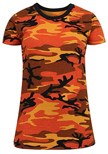 Rothco Womens Long Length Camo T-Shirt, Savage Orange Camo, 2XL