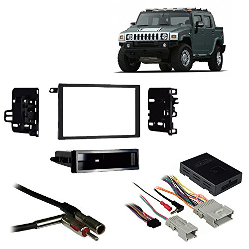 Fits Hummer H2 2003-2007 Double DIN Aftermarket Harness Radio Install Dash Kit (Hummer Harness)