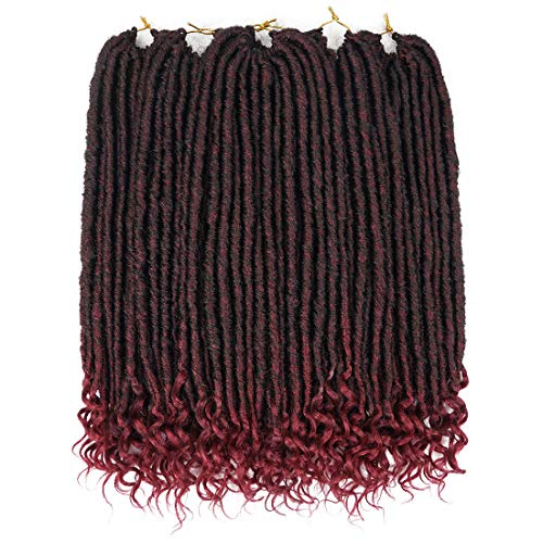 6 Packs/Lot Straight Goddess Locs Faux Locs Hair with Curly Ends 18 Inch Soft Dreadlocks Crochet Hair Extensions 24 Strands - Inch Straight 18 Shaft