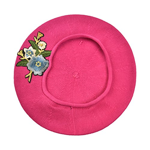 Hot Pink 100% Cotton Beret French Ladies Hat with Blue Flower Bouquet