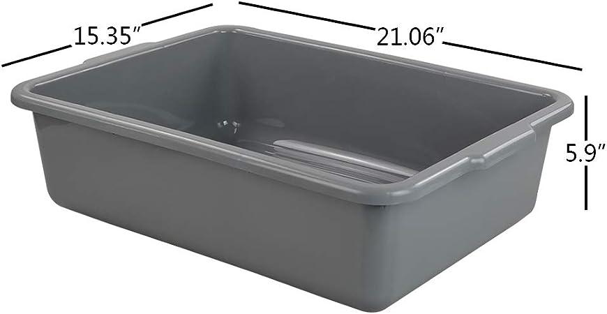 CadineUS 24 Quart Gray Commercial Bus Tub Box Set of 4 21.06 x 15.35 x 5.9