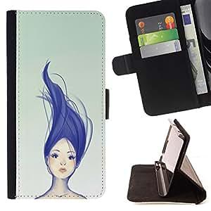 BullDog Case - FOR/LG G2 D800 / - / blue purple haired girl womb green /- Monedero de cuero de la PU Llevar cubierta de la caja con el ID Credit Card Slots Flip funda de cuer