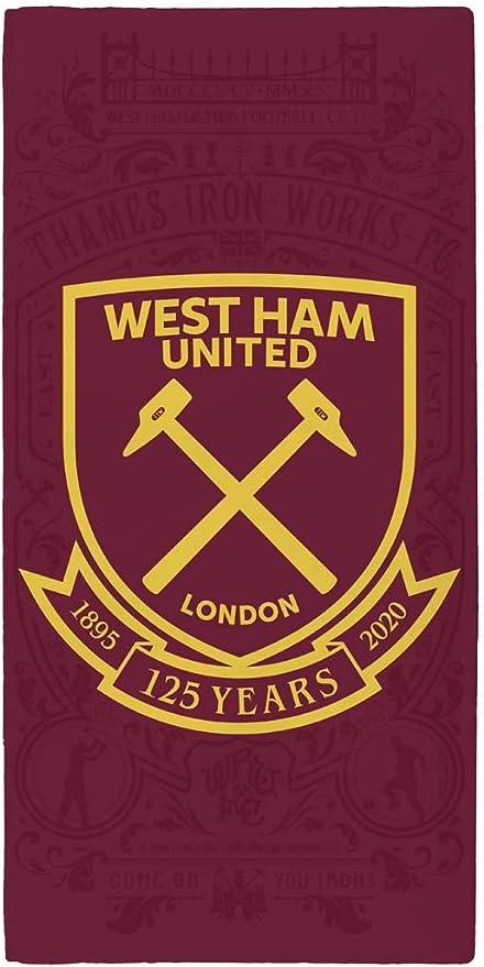 West Ham United Crest Strandtuch 100/% Baumwolle Limited Edition