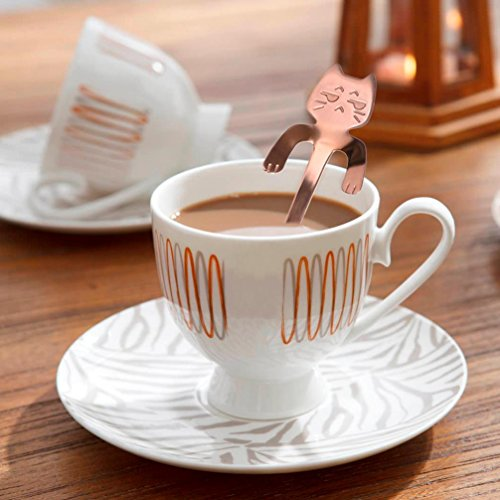 (ZTTONE Spoon,Cute Cat Spoon Long Handle Spoons Flatware Coffee Drinking Kitchen Tools (Rose Gold, B))