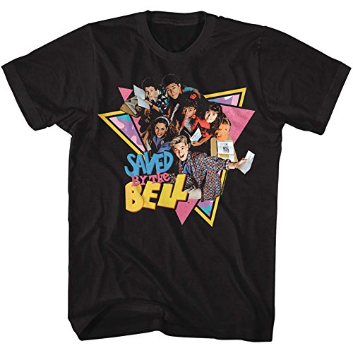 American Classics Saved by The Bell 1980's Sitcom Group Triangles Black Adult T-Shirt Tee (Screech Saved By The Bell)