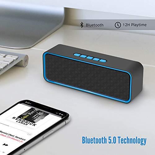 Kolaura Portable Wireless Speaker, TWS Bluetooth 5.0 Speaker with 3D Stereo HiFi Bass, 1500mAh Battery, 12 Hour Playtime (Blue)