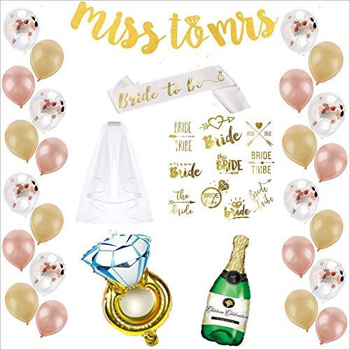 Bachelorette Party Decorations Kit | Bridal Shower Supplies - Bride to Be Sash + Veil, Ring Balloon foil, Champagne Bottle Balloon foil, Gold Banner, 12 Latex Balloons Set, 8 Flash Tattoo set]()