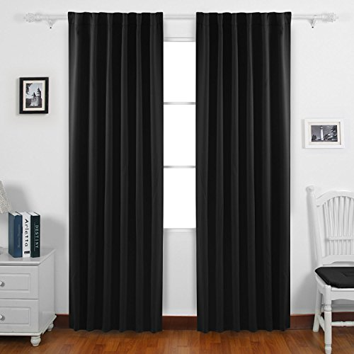 Deconovo Back Tab and Rod Pocket Blackout Curtains Solid Color Blackout Panels (Color Blackout Curtain)