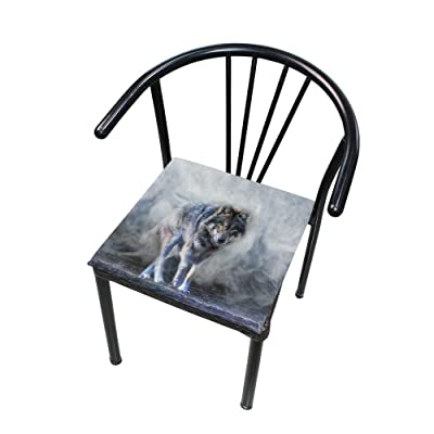 """Bardic HNTGHX Outdoor/Indoor Chair Cushion Wolf Through The Mist Square Memory Foam Seat Pads Cushion for Patio Dining, 16"""" x 16"""": Home & Kitchen"""