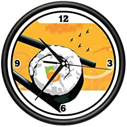 SUSHI BAR Wall Clock roll japanese asian kitchen chef Decor Home and Room