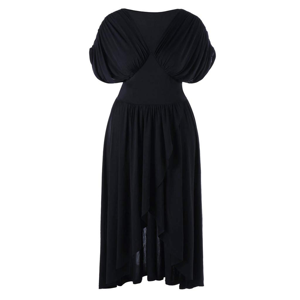 Usstore  Women Swing Gown Fashion Oversized Cross V-Neck Overlap Formal Party Vintage Maxi Dress