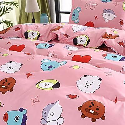 ACEFAST INC 4 Piece BTS Love Yourself Bedding Sheets Set Queen Cute Pink Flat Sheet Quilt Cover Pillow Shams Jimin Suga Junkook V Rap J-Hope Jin Cartoon Style: Home & Kitchen
