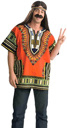 Forum Novelties Men's Dashiki Costume Shirt, Orange, Standard