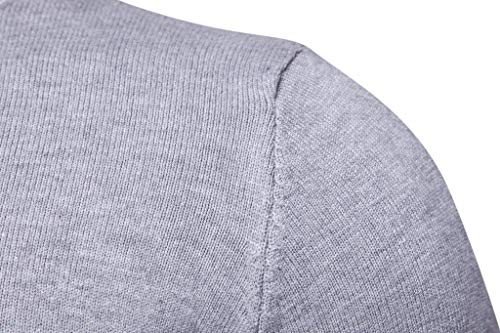À Pull Chandails Col Pullover Sweatshirt Manches En Haut Maille Clair Sweat Roulé Homme Gris Longues Sweater SE5fq
