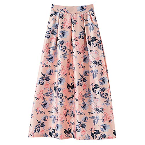 Sunhusing Ladies Summer Boho Beach Digital Small Floral Print Skirt Large Size Large Swing Pleated Pettiskirt Pink]()