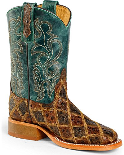 (Anderson Bean Boys' Patchwork Angy Bird Cowboy Boot Square Toe Brown 11 D(M) US )