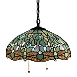 Tiffany Hanging Lamp Crystal Bead Dragonfly 12 Inch Sea Blue Stained Glass Shade for Dinner Room Pendant Semi Flush Ceiling Light Fixture