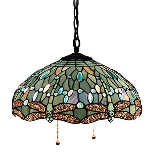 Tiffany Hanging Lamp Crystal Bead Dragonfly 12 Inch Sea Blue Stained Glass Shade for Dinner Room Pendant Semi Flush Ceiling Light (Tiffany Hanging Stained Glass)