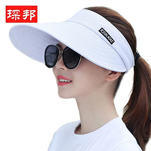 Pure white Women's Adjustable Beach Floppy Sun Hat
