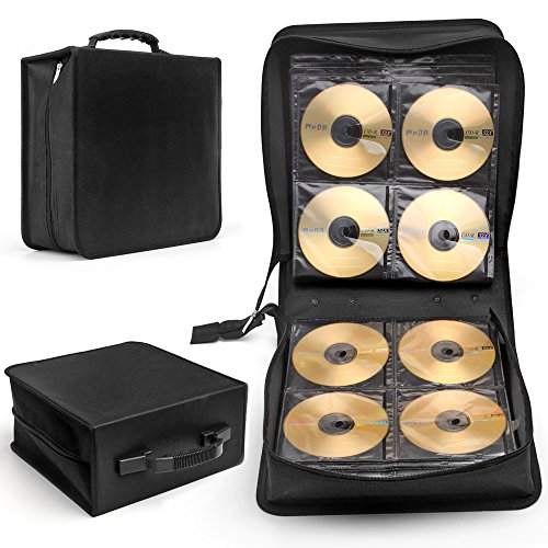 (Flexzion CD DVD Carrying Case 288 Capacity Disc Bluray Storage Box Organizer Holder Album Container Wallet Solution Page Sleeves Binder Portable in Black)