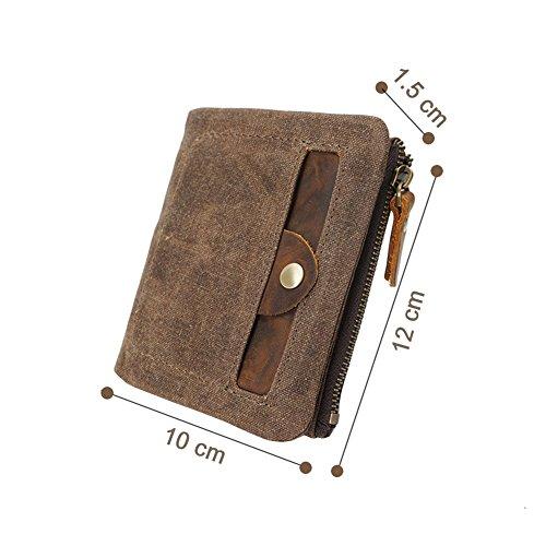 VRIKOO Front Green amp; Canvas Coral Pocket Velcro with Mens Bifold Wallet Zipper Coffee TgrZTw